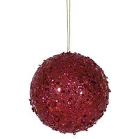 4.75 in. Fancy Deep Red Holographic Glitter Drenched Christmas Ball
