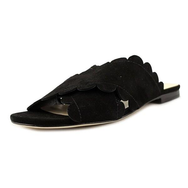Isa Tapia Ana Maria Women Open Toe Suede Black Slides Sandal