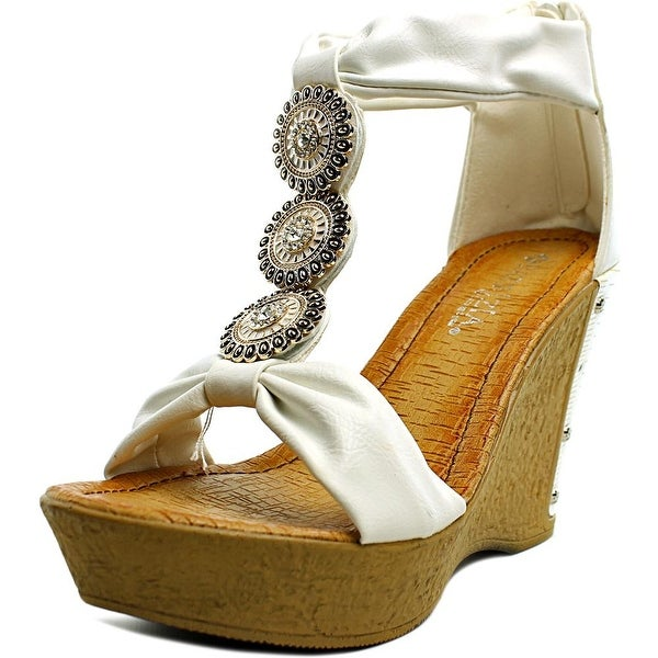 Patrizia By Spring Step Pegaxandra Women Open Toe Synthetic White Wedge Sandal