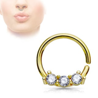 CZ on Bendable Bar Surgical Steel Septum Hoop Ring - 18GA (Sold Ind.) (Option: Yellow)