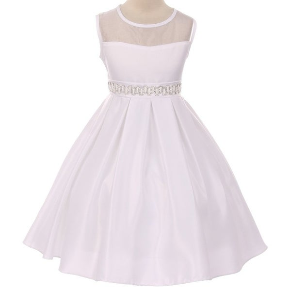 Shop Flower Girl Dress See Through Shoulder Rhinestone Belt White GG 3574 - Free  Shipping Today - Overstock - 17752312 19eb57391a35
