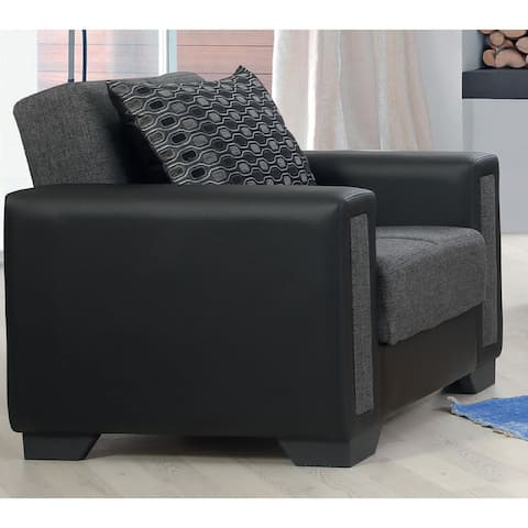 Orshava Grey and Black Upholstered Convertible Arm Chair with Storage