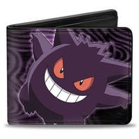 Gengar Pose Swirl Black Purples Bi Fold Wallet - One Size Fits most