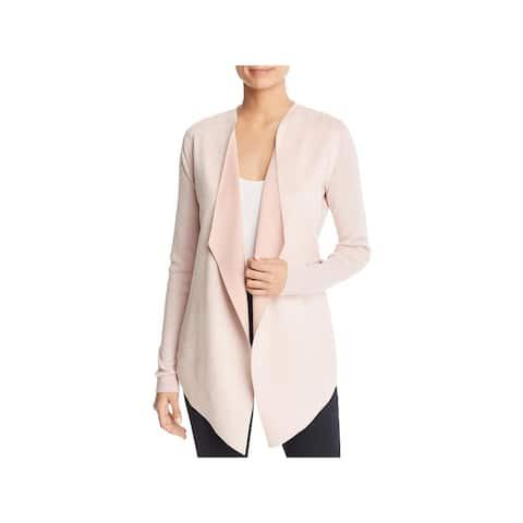 T Tahari Womens Mona Cardigan Sweater Faux Suede Rib Knit