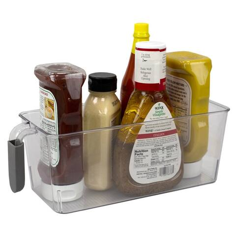 Small Pull-Out Plastic Storage Bin with Soft Grip Handle, Clear