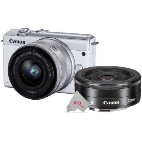 Canon EOS M200 Mirrorless Digital Camera White with 15-45mm Lens + Canon EF-M 22mm f2 STM Compact System Lens