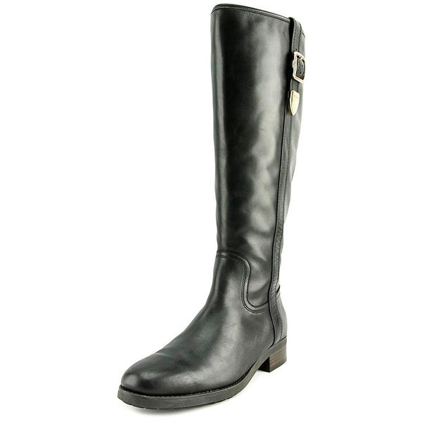 Coach Easton Wide Calf Women Round Toe Leather Black Knee High Boot