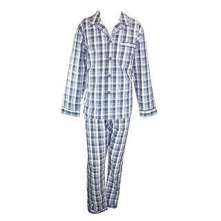 Majestic International Men's Cotton Woven Plaid Long Sleeve Long Leg PJ Set - navy plaid