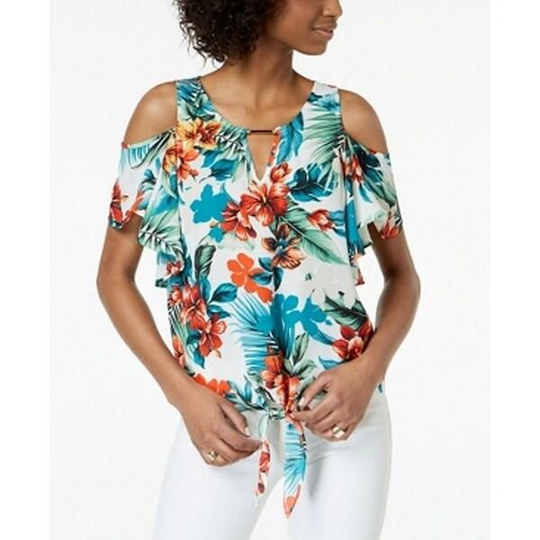 BCX White Women's Size Medium M Floral Print Cold Shoulder Blouse