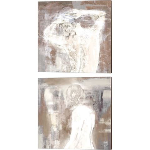 Lanie Loreth 'Neutral Figure on Abstract Square' Canvas Art (Set of 2)