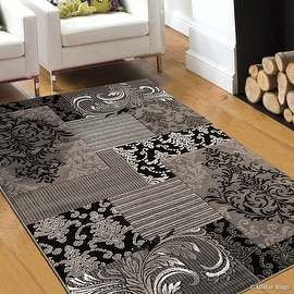 """Grey Allstar Modern. Contemporary Woven Rug. Drop-Stitch Weave Technique. Carved Effect. Pop Colors (7' 10"""" x 10')"""