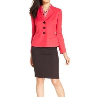 Le Suit NEW Wild Rose Pink Black Colorblock Women's 16 Skirt Suit Set