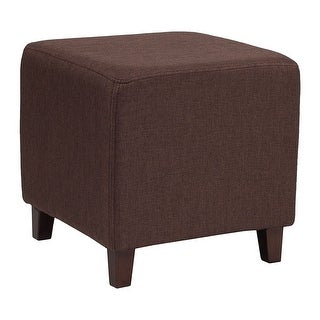 Offex Ascalon Contemporary Upholstered Ottoman Pouf in Brown Fabric