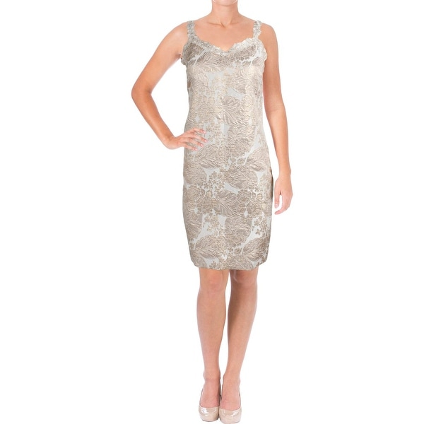 7fc7fe542cc9 Shop T Tahari Womens Kianna Cocktail Dress Metallic Party - Free Shipping  On Orders Over $45 - Overstock - 19544313