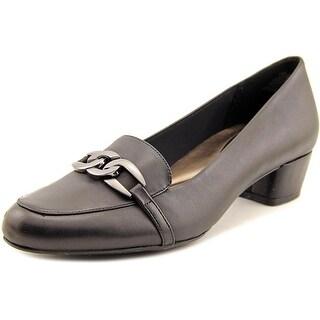 Easy Spirit Umandra Women Round Toe Leather Black Loafer