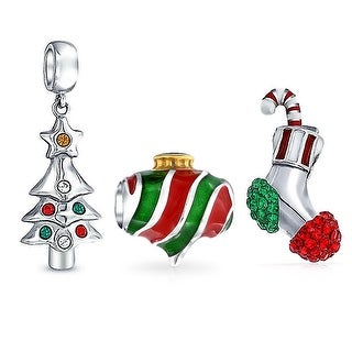 Bling Jewelry Stocking Christmas Ornament Tree Bead Charm Set 925 Silver