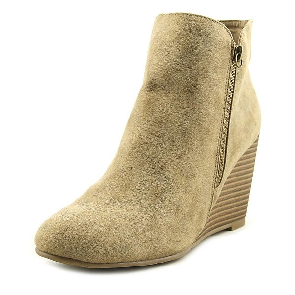 Mia Buckley Women Round Toe Leather Tan Ankle Boot
