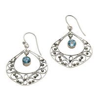 Women's Blue Topaz Filigree Dangle Earrings - Sterling Silver - Hang 1.75""