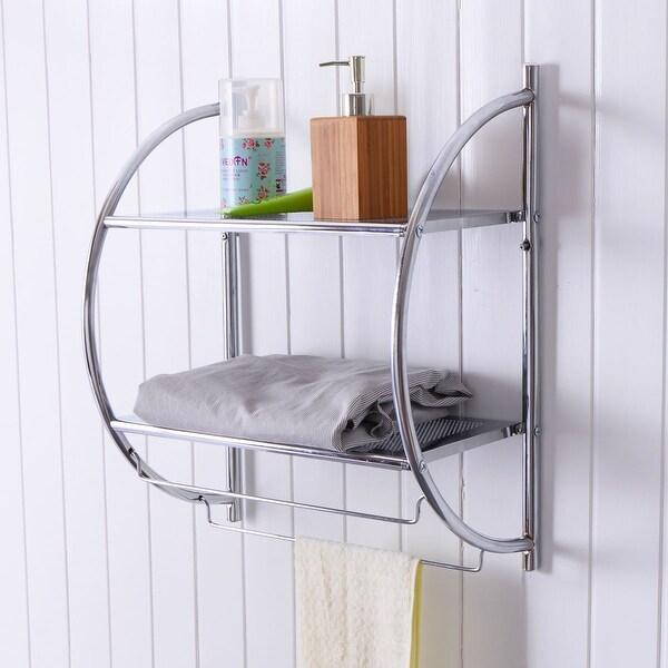 Costway 2 Tier Wall Mount Shower Organizer Toilet Bathroom Storage Rack  Holder Towel Bar