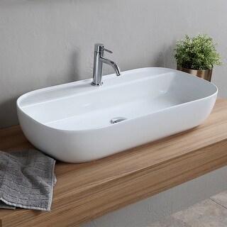 "Nameeks Scarabeo 1801  Scarabeo Glam 30"" Rectangular Ceramic Vessel Bathroom Sink - White / One Hole"
