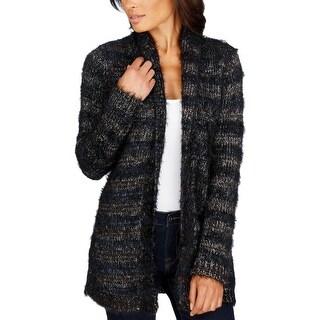 Lucky Brand Womens Cardigan Sweater Ribbed Trim Metallic