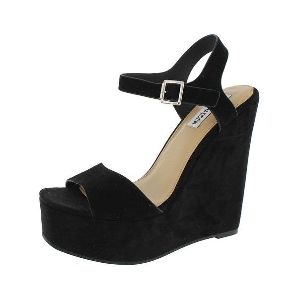 Steve Madden Womens Erica Dress Sandals Open Toe Covered Wedge - 7.5 medium (b,m)