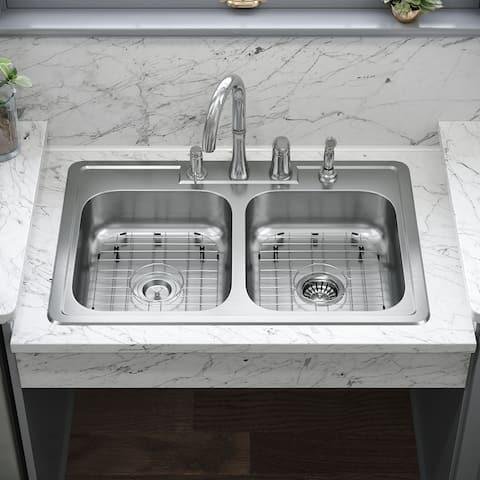 ADAT550D 20 Gauge Double Bowl Stainless Steel Kitchen Sink, Ensemble