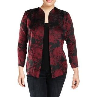 Alex Evenings Womens Plus Blazer 2PC Floral Print