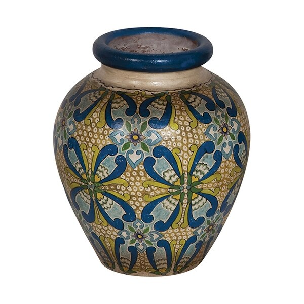 "GuildMaster 202519 14-1/2"" Tall Hand Painted Terracotta Vase"
