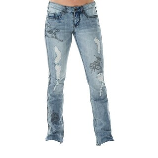 Cowgirl Tuff Western Denim Jeans Womens Rodeo Black Light Wash