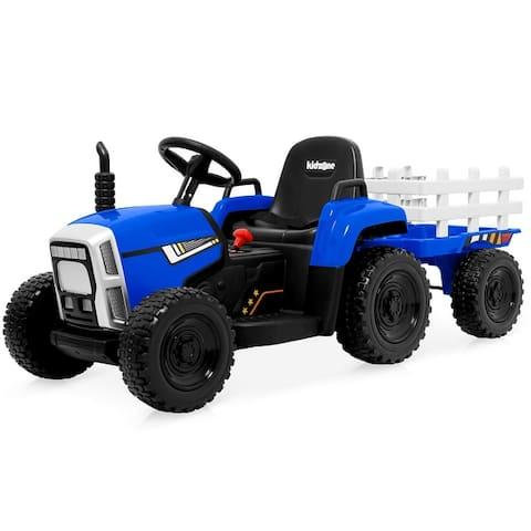 Kidzone Kids Ride On Electric Tractor W/Trailer LED USB Bluetooth - standard