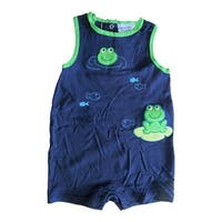 Carter's Baby Girls Navy Blue Frog Fish Embroidered Sleeveless Bodysuit 12-24M