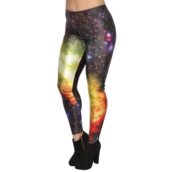 Shop Women's Galaxy Leggings Medium Black Yellow - On Sale ...