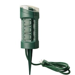 Southwire 13547Wd 15A Outdoor Plug-In Photocell Light Sensor 6-Outlet Yard Stake Timer