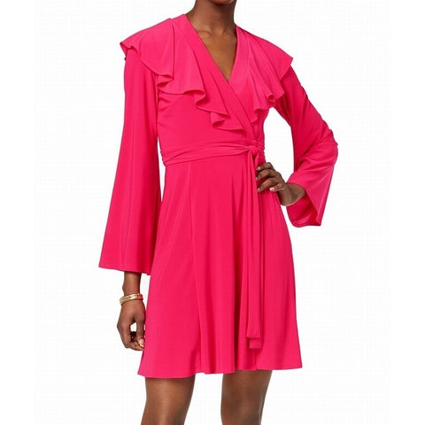 Taylor Pink Fuschia Women's Size 8 Ruffle Surplice Wrap Dress