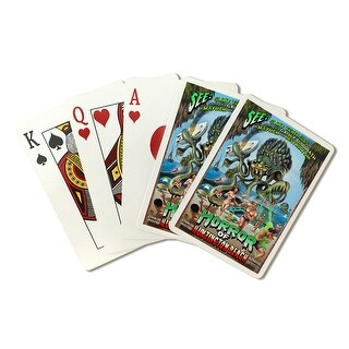 Huntington Beach, California - Alien Attack Horror - Lantern Press Artwork (Poker Playing Cards Deck)