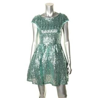 B. Darlin Womens Juniors Sequined Cap Sleeve Semi-Formal Dress - 5/6