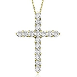 2.00 cttw. 14K Yellow Gold Round Cut Diamond Big Cross Pendant Necklace (3 options available)