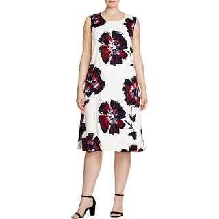 Lafayette 148 Womens Plus Party Dress Floral Print Sleeveless