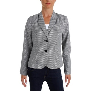 Calvin Klein Womens Petites Two-Button Suit Jacket Printed Long Sleeves - 12P