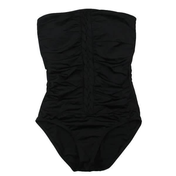 Lace-Up Rouched One-Piece Swimsuit