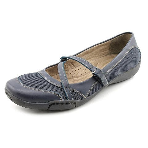 Auditions Womens Crescent Leather Closed Toe Ankle Strap Loafers