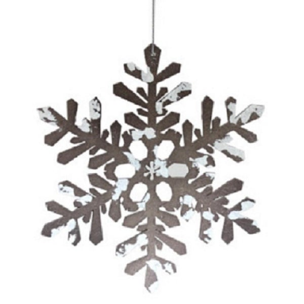 """8"""" Snowy Winter Glitter Tipped Brown and White Snowflake Decorative Christmas Ornament"""
