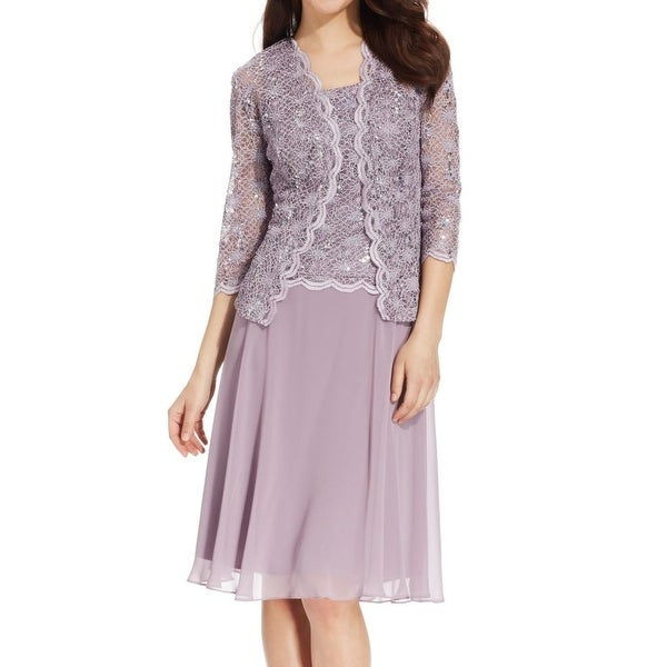 R&M Richards Womens Sequin Lace Jacket A-Line Dress