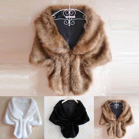 Fashion Elegant Bridal Wedding Faux Fur Long Shawl Stole Wrap Shrug Scarf