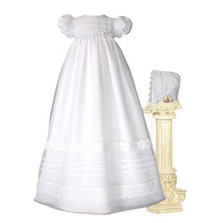 Baby Girls White Organza French Lace Pin Tuck Bonnet Christening Dress Gown - 0-3 months