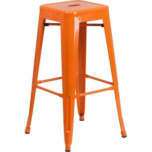 Collins 30'' High Backless Orange Metal Indoor/Outdoor/Patio/Bar Barstool w/Square Seat