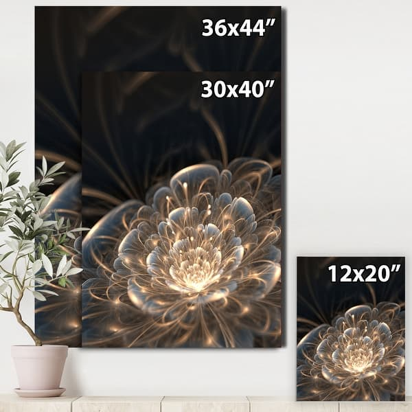 Designart Fractal Flower With Golden Rays Floral Canvas Art Print Gold Overstock 11198585