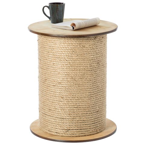 Decorative Round Spool Shaped Wooden Accent Side Table with Rope