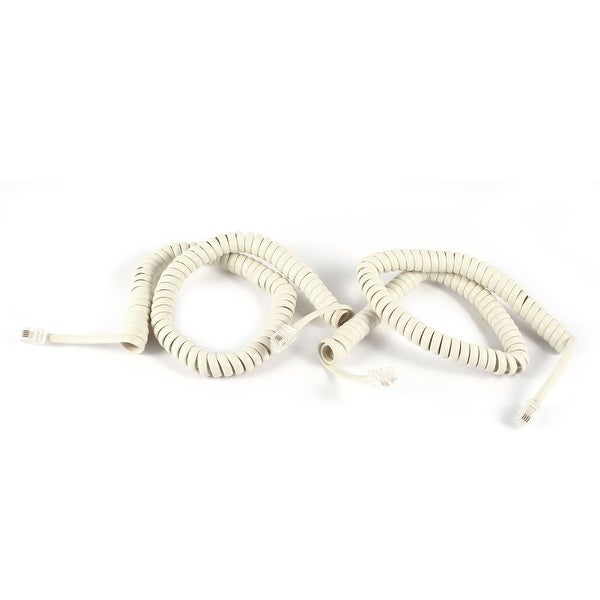 Unique Bargains 2 Pcs 3 Meters Length Coil Stretchy RJ9 4P4C Elastic Telephone Cable Off White